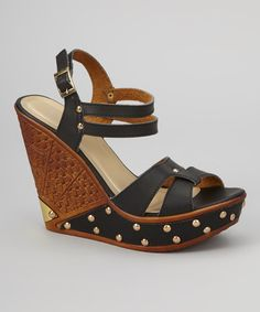 Take a look at this Black Studded Dolores Wedge by Rosette on #zulily today!