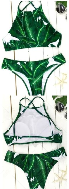 Product Description: Trendy Leaf Print High-Neck Women's Bikini Set Color: Green, Material: Polyester/Terylene, Pattern Type: Print/Printed, Style: Sexy, Stretchability: Non-Stretchable, Gender: Women