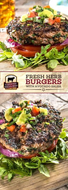 Certified Angus Beef®️️️️ brand Fresh Herb Burgers with Avocado Salsa are so EASY to make! These burgers use the best ground chuck, parsley, oregano, and basil for a FRESH and flavorful dish. Serve on tomatoes instead of a bun and with delicious avocado s Best Beef Recipes, Beef Recipes For Dinner, Barbecue Recipes, Wrap Recipes, Dog Recipes, Grilling Recipes, Hamburger Recipes, Sandwiches, How To Cook Beef