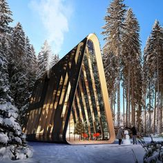 Cabin concept, woven timber structure on top of translucent polycarbonate, allowing light to penetrate while also keeping out the… Architecture Design, Futuristic Architecture, Beautiful Architecture, Beautiful Buildings, Cabin Design, Tiny House Design, Triangle House, Timber Structure, A Frame House