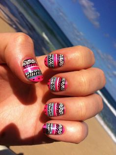 Beautiful nails 2016, Colorful nails, Ethnic nails, June nails, Manicure by summer dress, Summer gel polish, Summer gel polish2016, Summer nail art