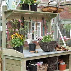 potting tables with fruit crate decor | ... other potting benches rowlinson wooden premier garden potting bench