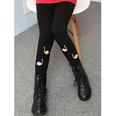 Cotton Blend Lined Swan Print Leggings #CLICK! #clothing, #shoes, #jewelry, #women, #men, #hats