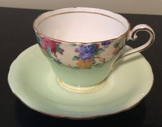 Vintage Aynsley Tea Cup & Saucer/made in  England Bone China Green cup/Hydrangeas and grapes by VintageSowles on Etsy