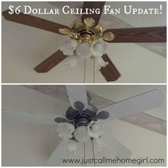 $6 Ceiling Fan Update! - Update an old ceiling fan with just a little spray paint! One of the reasons we bought this house was an amazing sun…