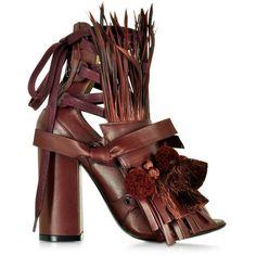 N°21 Burgundy Leather Heel Sandal w/Pom Pom Tassel & Fringe ($1,015) ❤ liked on Polyvore featuring shoes, sandals, sandales, leather shoes, leather lace up sandals, fringe shoes, leather sandals and bohemian sandals