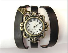 women wrist watch handmade leather bracelet wrap bronze black