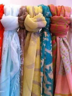 Lightweight linen scarves in bright tropical colors will give you just the bit of warmth and style you need with your spring and summer outfits :)
