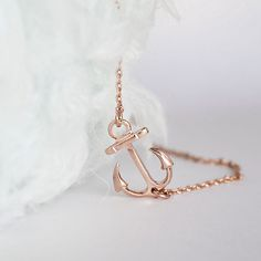 Pink Gold Sideways Anchor Necklace, Ahoy Nautical Charm