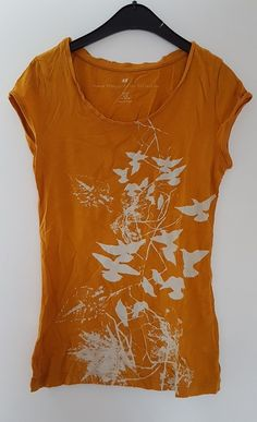 666aeeb1a36804 H&M Organic Cotton Collection / T-Shirt/ Gelb / Vogelprint / Gr. 34 / XS