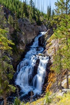 Mystic Falls on the Little Firehole  River, Yellowstone National Park, Wyoming