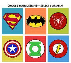 8x10 PRINTABLE Superhero Logo Wall Art Decor Boy Nursery Room - Superman Green Lantern Flash Batman Captain America Spiderman DIGITAL FILES