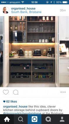 Reshape the DIY pantry: old pantry cupboard transformed into pantry cupboard – Own Kitchen Pantry Kitchen Larder Cupboard, Kitchen Pantry Design, Kitchen Interior, Kitchen Decor, Kitchen Ideas, Kitchen Living, New Kitchen, Mini Kitchen, Clever Kitchen Storage