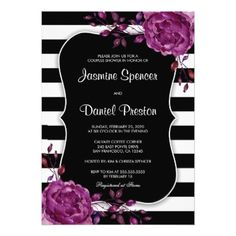 #invitations #wedding #bridalshower - #Floral Stripe Couples Wedding Bridal Shower Invite