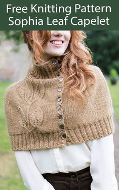 Free Poncho Knitting Pattern Sophia Leaf Capelet - Buttoned poncho with a leaf lace on front. Designed by Emma Wright for West Yorkshire Spinners. DK weight yarn.
