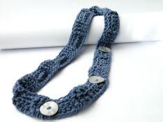 Collana Uncinetto Cotone Blu Bottoni MadrePerla Grigi Stile Orientale : Collane di steamylab