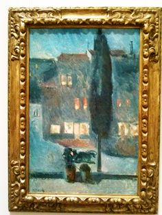 'Cypress in Moonlight,' 1892; Edvard Munch, Norwegian, 1863-1944; oil on canvas; Metropolitan Museum of Art, New York. The tall, narrow cypress that dominates this scene stands alone amidst a series of pairs: potted plants on the windowsill, illuminated windows spied across the way, and human figures in the street. Munch reconfigured these elements in another painting from his early years in France, his iconic 'Kiss by the Window' from 1892 (Nasjonalmuseet, Oslo).