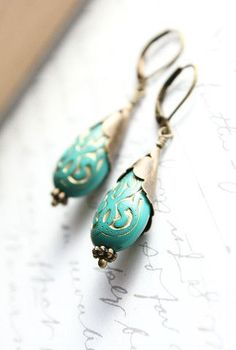 Teal and Gold Etched Drop Earring