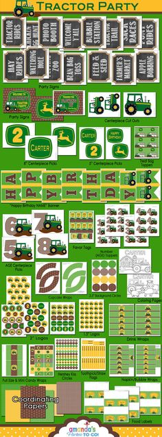 Tractor Birthday - John Deere Party Printable - Green Tractor