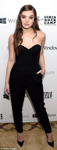 Cool choice: The 19-year-old actress and singer donned a sophisticated all-black ensemble ...
