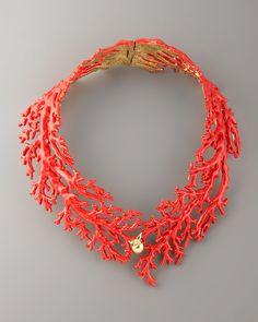 Aurelie Bidermann Enamel Coral Choker Necklace