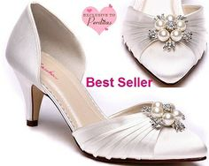 Beatrice Ivory Dyeable Satin Wedding Shoes with Pearls