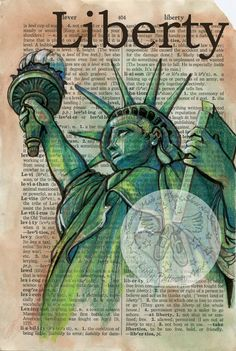 Lady Liberty Mixed Media Drawing on Distressed, Dictionary Paper - flying shoes art studio - great idea for Art and Design Book Page Art, Art Pages, Image Paris, Altered Books Pages, Newspaper Art, Newspaper Background, Dictionary Art, Art Graphique, Shoe Art