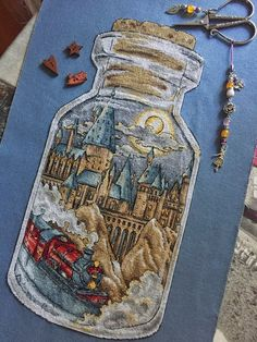 Cross Stitch Pattern Hogwarts in the bottle DMC
