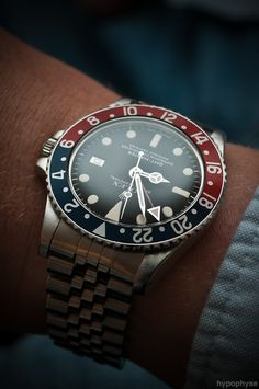Rolex GMT-Master 1675   Flickr - Photo Sharing!  Want something a little cheaper? Here are 8 #vintage #watches  you can buy for less than $500 that will instantly boost your image. http://www.alphareboot.com/8-vintage-watches-under-500-instantly-boost-image/