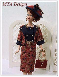 "OOAK~""SABRINA""~Gold Leaf~Silkstone Vtg Barbie Fashion~8pc~Handmade~MTA Designs #HandmadebyMTADesigns"