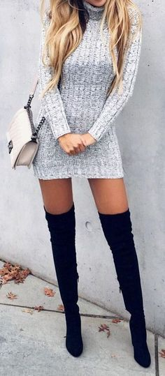 Thigh high boots are the perfect shoes for edgy outfits! - - Thigh high boots are the perfect shoes for edgy outfits! Thigh high boots are the perfect shoes for edgy outfits! Booties Outfit, Look Fashion, Autumn Fashion, Womens Fashion, Fashion Trends, Fashion Ideas, Fashion Tips, Ladies Fashion, Fashion 2017