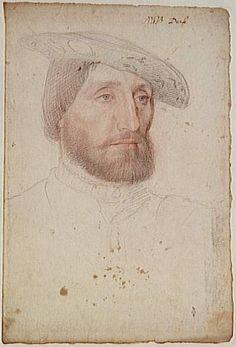 Retrato de Claude d'Urfé. Boceto al carboncillo y sanguina de la escuela de Jean Clouet ca. 1540.