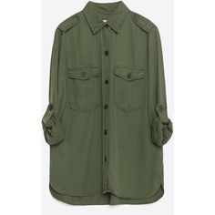 Zara Military Style Shirt (665.540 IDR) ❤ liked on Polyvore featuring tops, shirts, khaki, military top, green top, khaki shirt, khaki green shirt and green shirt