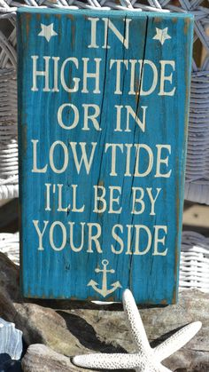 In High Tide Or Low Tide, Beach Sign, Anchor, Nautical Sign, Beach Anchor Coastal Decor Hand Painted Reclaimed Beach Wood Sign