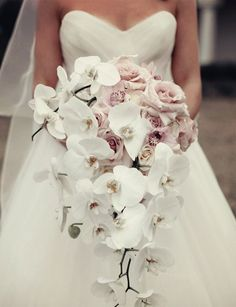 orchid wedding boquet You Like for Wedding Bouquet Bridal Custom Wedding Gowns Online Orchid Bouquet Wedding, Cascading Wedding Bouquets, Bride Bouquets, Rose Bouquet, Carnation Wedding, White Orchid Bouquet, Glamorous Wedding Flowers, Bridal Bouquet White, Bridal Musings