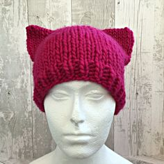 Pink Pussyhat, Pussyhat Project, Pussycat Hat, Pink Pussy Hat, Pussyhat Movement, Pussy Cat Hat, Pink Cat Hat, Cat Ear Hat, Pussyhat Wool by SnugCreations on Etsy