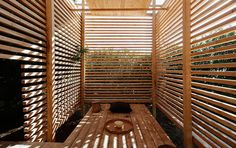 architecture - Project - Tea Pavilion in private Villa - Wooden Architecture, Timber Buildings, Pavilion Architecture, Contemporary Architecture, Architecture Details, Interior Architecture, Bequia, Floating Staircase, Spa Design