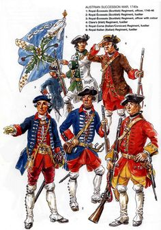 SYW- France: French Foreign Infantry Regiments during the War of the Austrian Succession, 1740s, by Eugène Leliepvre. 1. Royal Ecossais Officer 1745-46. 2. Royal Ecossais Fusilier. 3. Royal Ecossais Officer with Standard. 4. Clare's Regt, Fusilier. 5. Royal Corse, Fusilier. 6. Royal Italien.