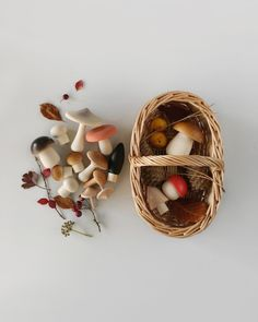Hello mushroom lovers and little foragers! Beautifully made wooden mushrooms by Moon Pinconc in a cute handmade rattan basket. Your room or garden can turn into an enchanting forest. Walk around with a basket in your hand, gather little mushrooms for y Simple Comme Bonjour, Painted Baskets, Basket Lighting, Rattan Basket, Picnic Baskets, Toy Basket, Forest Friends, Imaginative Play, New Toys