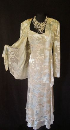 CATTIVA (NEW YORK), Cream, Peach & Silvery Blue, Floral, Silky Devore Layered Dress and Jacket, size UK16