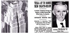 (L) Postcard illustration of the Hotel New Yorker, New York City. (Collection of The New-York Historical Society) (R) Tesla announced his new beam weapon in numerous newspaper interviews on his seventy-eighth birthday. This article is from The New York Times, July 11, 1934.