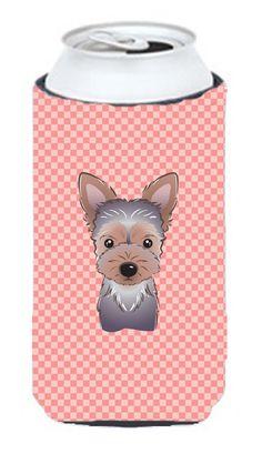 Checkerboard Pink Yorkie Puppy Tall Boy Beverage Insulator Hugger BB1232TBC