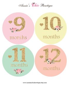 Baby girl monthly sticker Floral Baby sticker Glitter Baby
