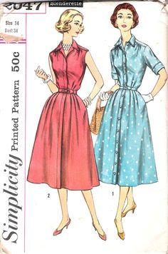 Vintage 50s Shirtwaist Dress Pattern Full Skirt Shirt waist Simplicity 2047 size 14 34 bust. $9.00, via Etsy.