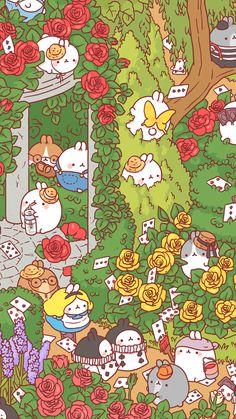 Molang - Alice in Wonderland Cute Wallpaper Backgrounds, Wallpaper Iphone Cute, Cute Cartoon Wallpapers, Wallpaper Quotes, Kawaii Drawings, Cute Drawings, Kawaii Background, Molang, Kawaii Wallpaper