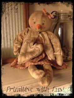 Primitive Snowman, Snowgirl Raggedy Doll, Christmas heart pillow ornie