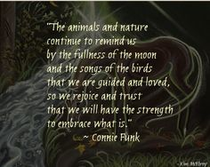 The animals and nature continue to remind us by the fullness of the moon and the songs of the birds that we are guided and loved.  So we rejoice and trust that we will have the strength to embrace what it. ~Connie Funk