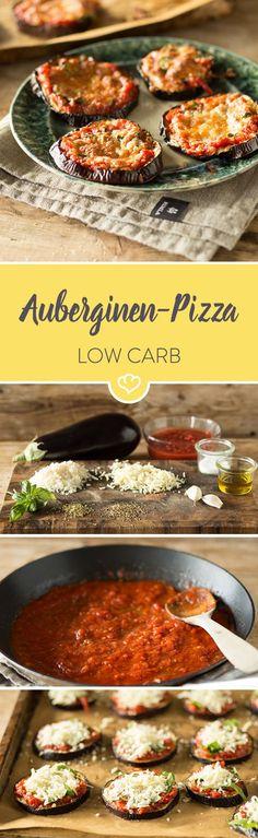 Mini-Pizzen ganz ohne Teig - als Grundlage für die kleinen Happen dienen Auberginen, die mit Tomatensauce, Basilikum und einer Käsemischung getoppt werden.