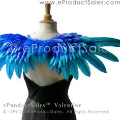 eProductSales Royal and Bright blue VALENTINE tipped feather angel WINGS