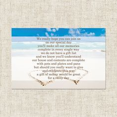 Buy Beach Paradise Gift Poem Card & lots of matching stationery from www.treeofhearts.co.uk